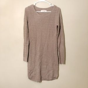 Loft   Wool Blend Knit Sweater Dress Tan Sz S